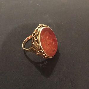 Victorian 14k Gold Carnelian Ring
